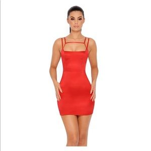Oh Polly run the show cut out mini dress in red